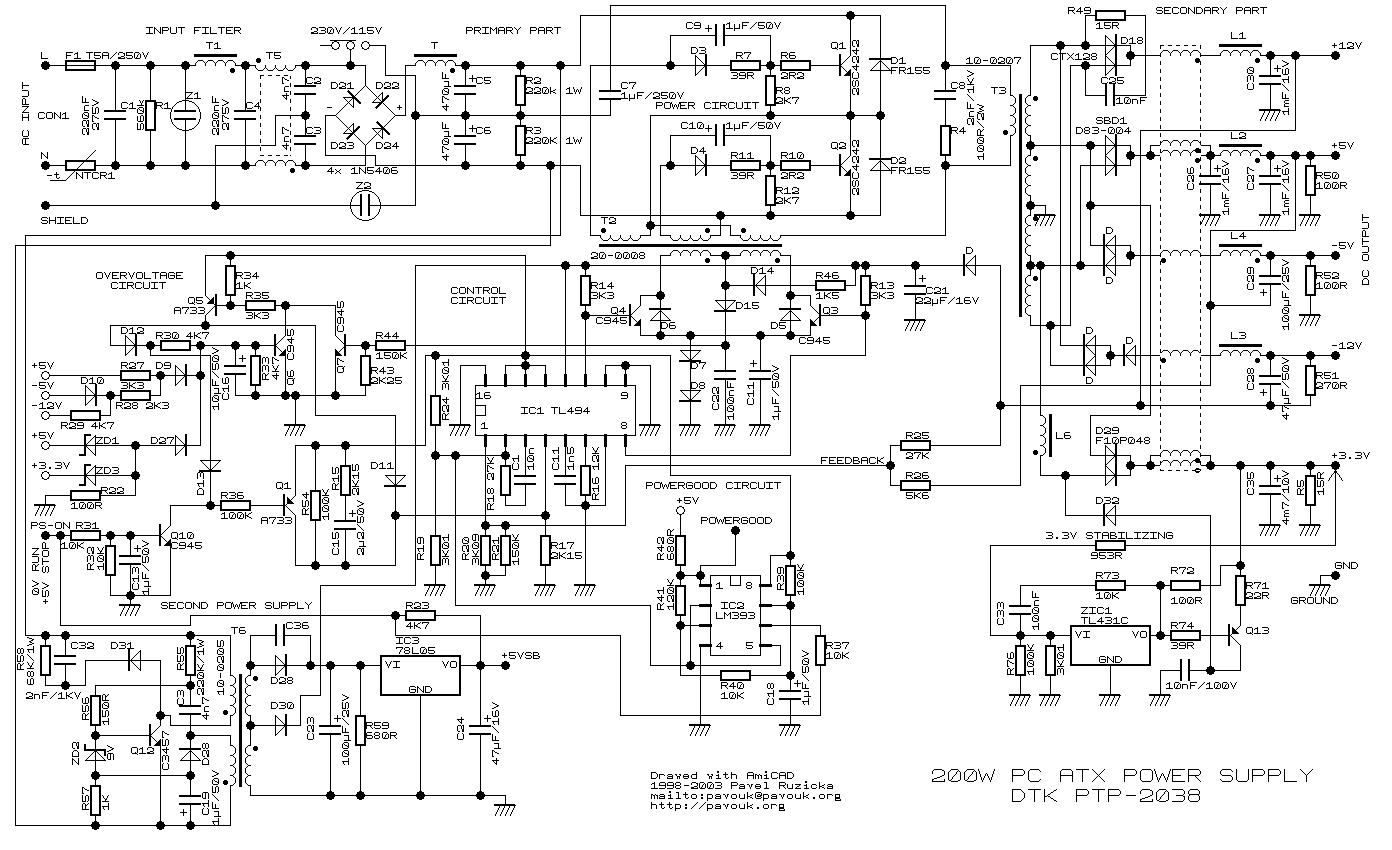 tl494 200w atx pc power supply circuit