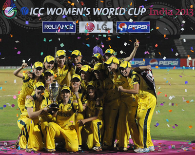 : Australian Team Celebrate with the Womens 2013 Icc World Cup Trophy