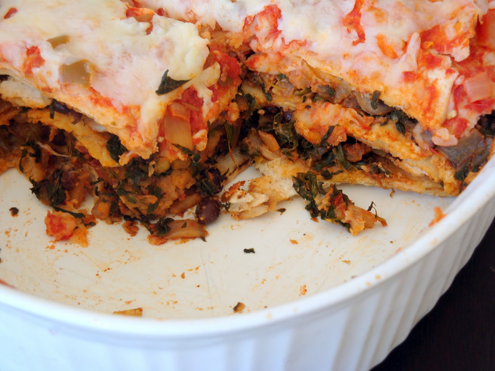 Vegetable and Black Bean Tortilla Casserole - Alida's Kitchen