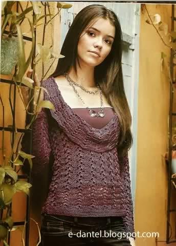 Tığ İşi El Örgüsü Bayan Kazak Modelleri