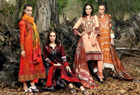 Firdous-Semi-Embroidered-Lawn-2013