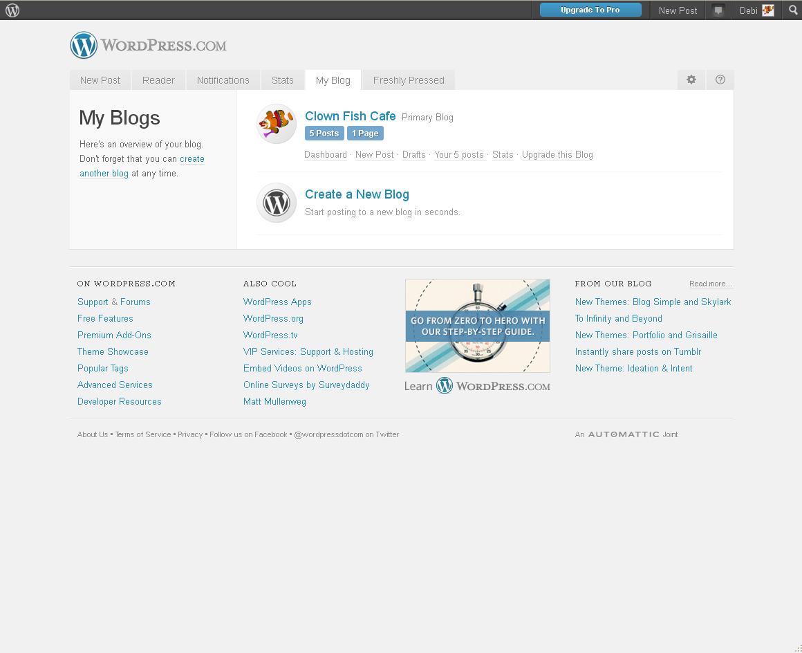 Clown Fish Cafe: The WordPress Dashboard