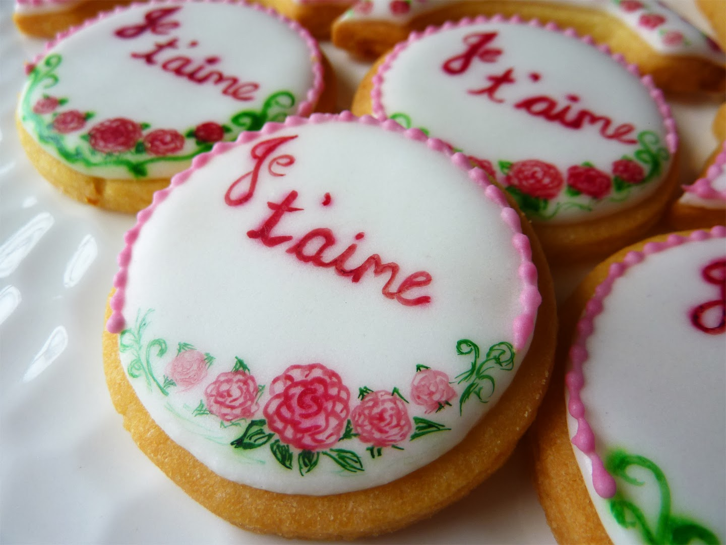 Hand-painted French-inspired Valentine's Day cookies