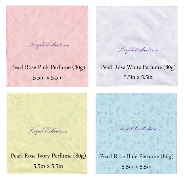 pearl rose pink perfume envelope, pearl rose white perfume envelope, pearl rose ivory perfume envelope, pearl rose blue perfume envelope