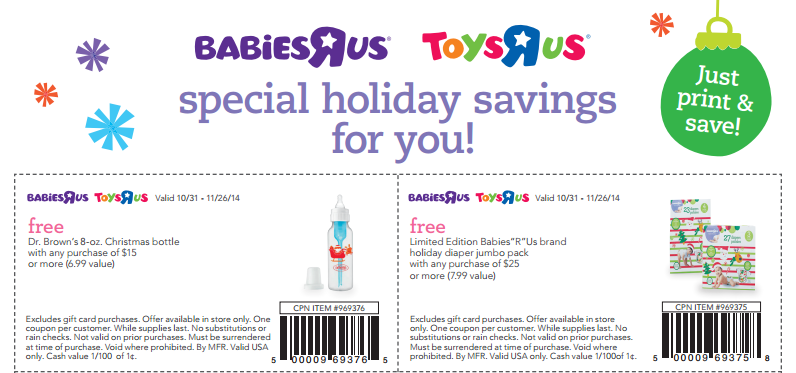 Savvy Spending: Babies R Us and Toys R Us: free Dr. Brown's ...