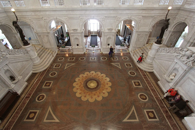 The floor tiles design of The Great Hall at Library of Congress, Thomas Jefferson Building in Washington DC, USA