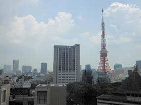 View of the Tokyo Tower from the balcony of Expedia Office in Japan