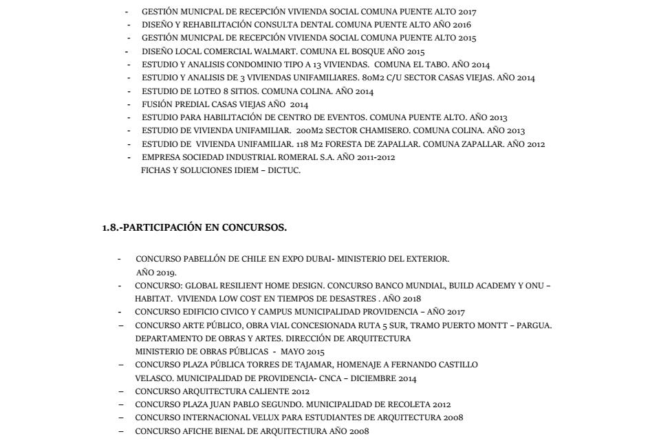 Curriculum Arquitecto Marco Muñoz Ortiz página 5 de 5