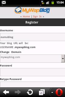 Cara buat blog gratis di mywapblog