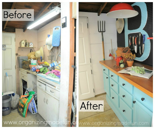 Before and after of counter top potting bench