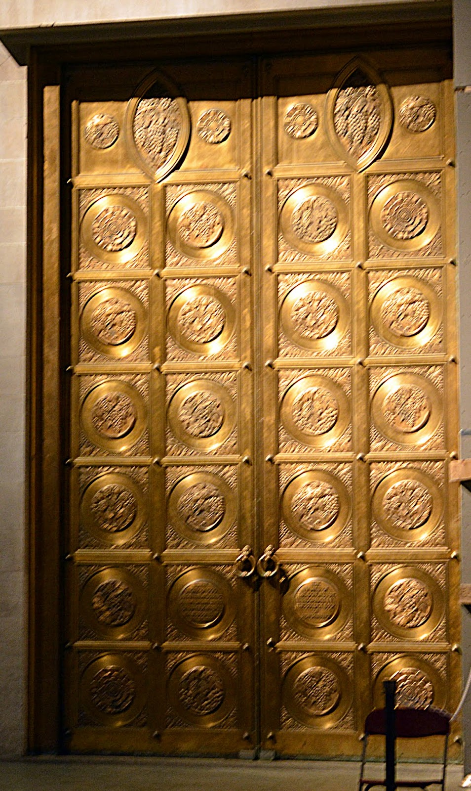 One of the  Golden Doors  -- bronze front doors of the Cathedral seen from the inside. Cast by Barbedienne of Paris who also cast the Statue of Liberty. & Mille Fiori Favoriti: The Cathedral Church of St. John the Divine ...