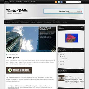 Black & White blogger template. template blogspot magazine style. download free template magazine blogger