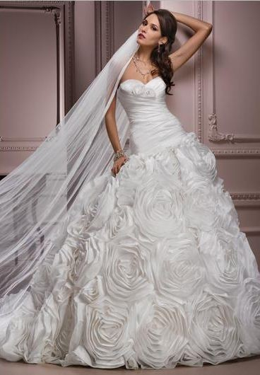 ball gown wedding dress with floral accents