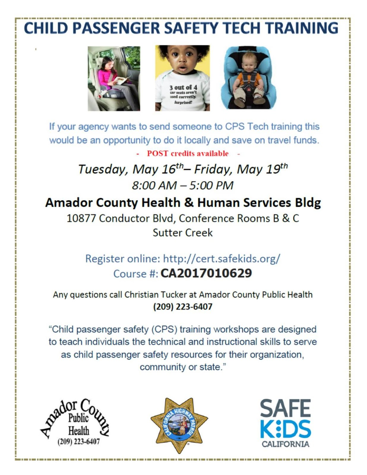 Child Passenger Safety Tech Training - May 16-19