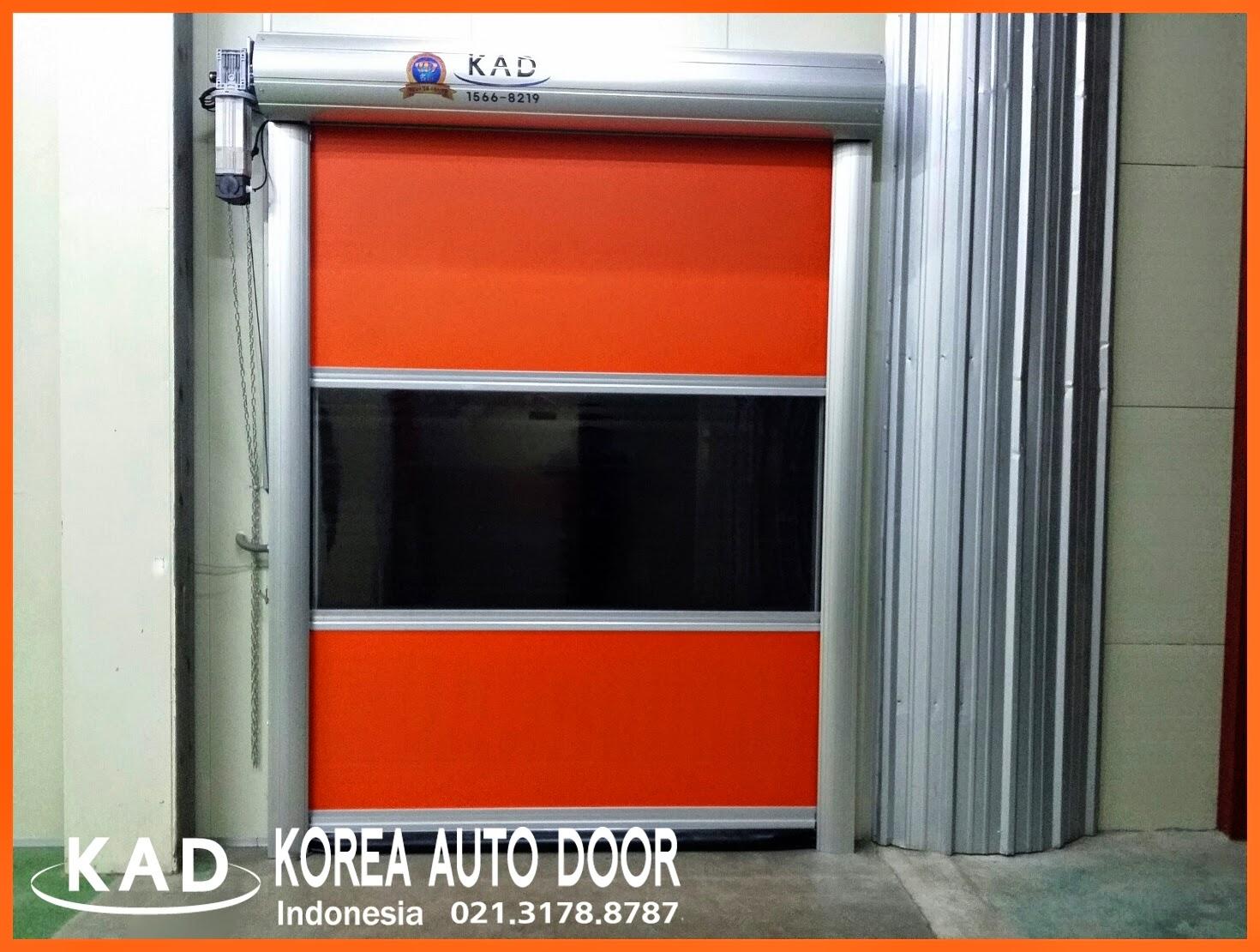 Describe orange color sheet of high speed door indonesia