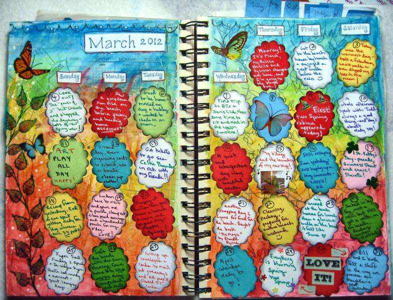 Art Journal Calendar Pages : Heartfully inspired by linda art journal calendar pages