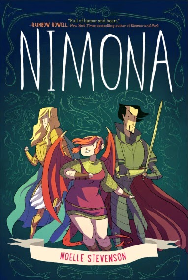 Cover art for Nimona, featuring a pale-skinned girl with a mostly shaved head and pink wings. She wears a short chain mail dress topped with a short pink surcoat. Behind her stand a dark-haired, armoured man with one mechanical arm who brandishes a sword and a golden-haired, armored man who has raised one fist.