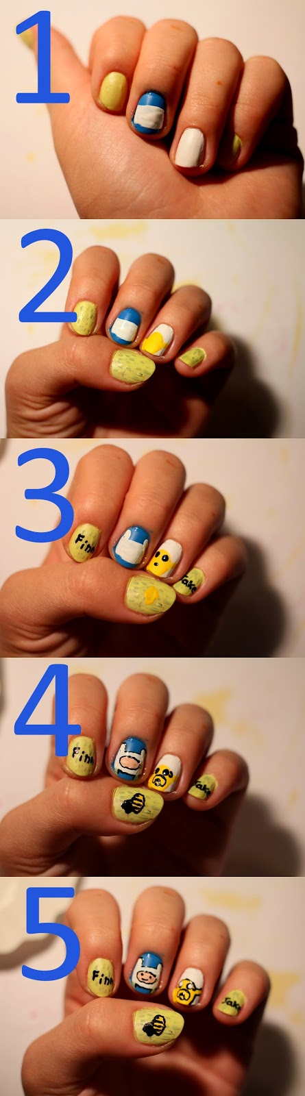 diy, adventure time, nail art, step-by-step