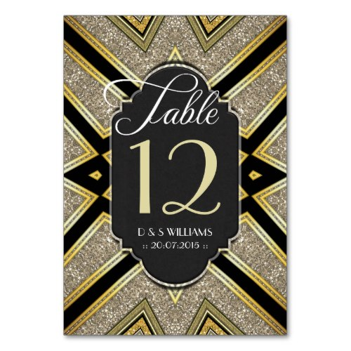 Art Deco Goldy Wedding Table Cards from Alternative Weddings