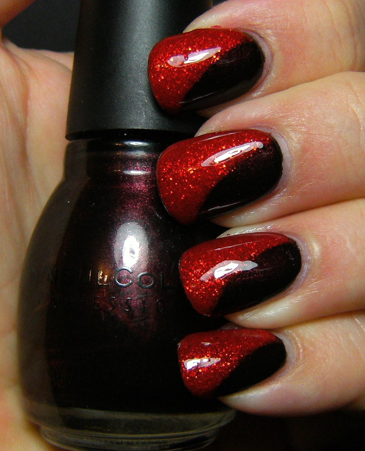 Black Nail Polish Red Glitter