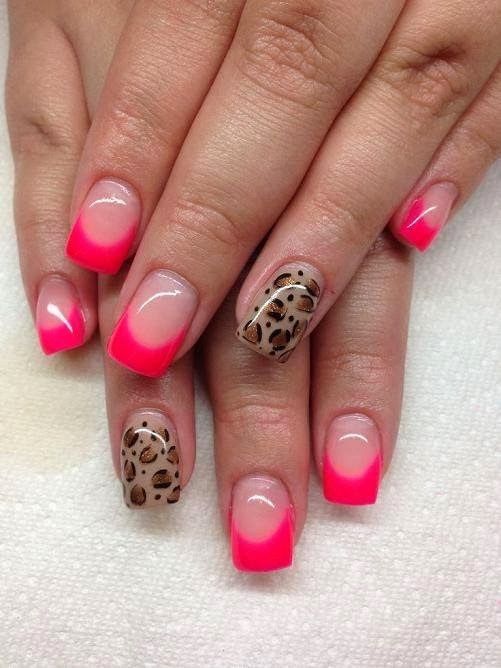 full set builder gels custom mix neon hot pink French  LED gel leopard print feats care LED-polish-manicure-OPI-Nail-Polish-Lacquer-Pedicure-care-natural-Gel-Nail-Polish-beauty-Acrylic-Nails-Nail-Art-USA-UK