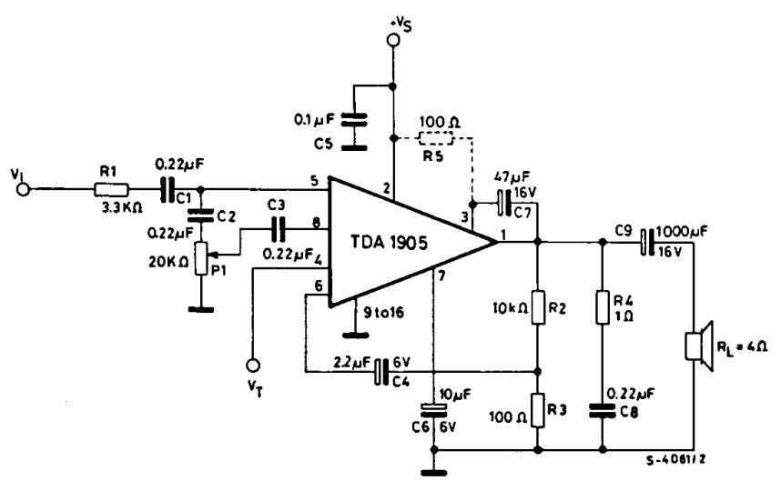CIRCUIT DIAGRAM FOR 5W AUDIO AMPLIFIER WITH MUTING