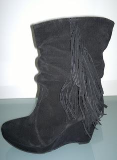 cizme piele dama negre scurte cu franjuri