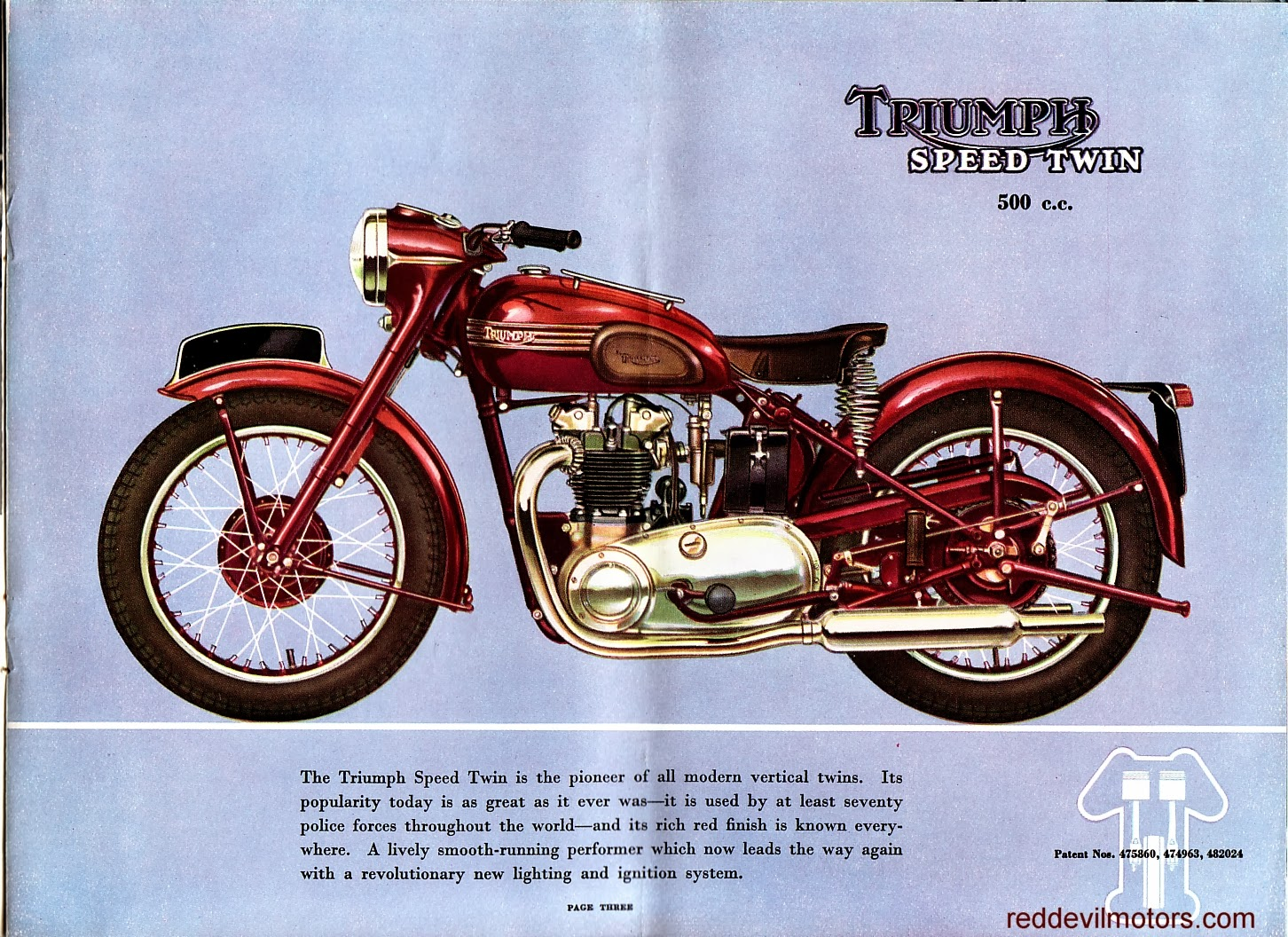 Vincent motorcycle brochure 1952 front cover - Triumph Brochure 1952 Page 4