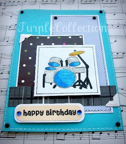 Birthday Cards, drum set birthday card, blue birthday card
