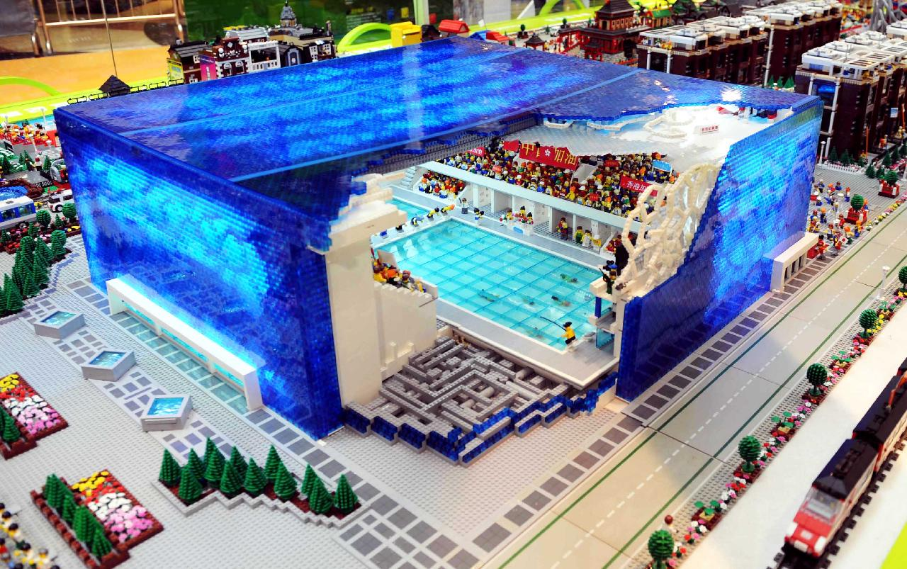 The hopeful traveler the lego bird 39 s nest and water cube for Piscine olympique