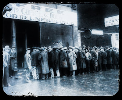 Vintage photo of unemployment line