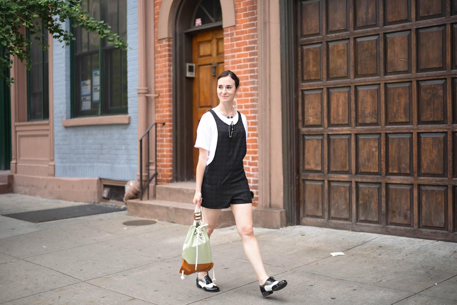 street style New York overalls