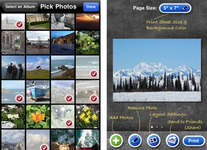 iPhone app to print multiple photos on a single page