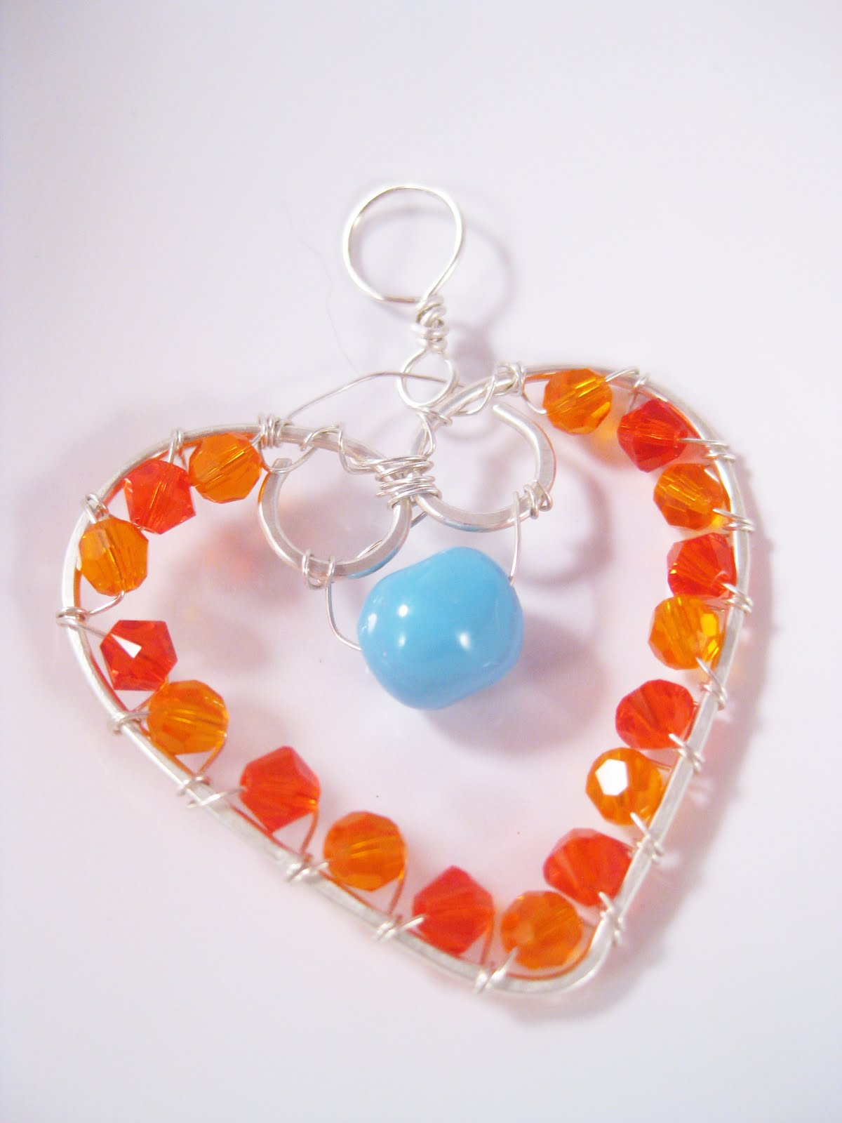 Fire Opal Crystal Silver Wire Wrapped Heart Pendant