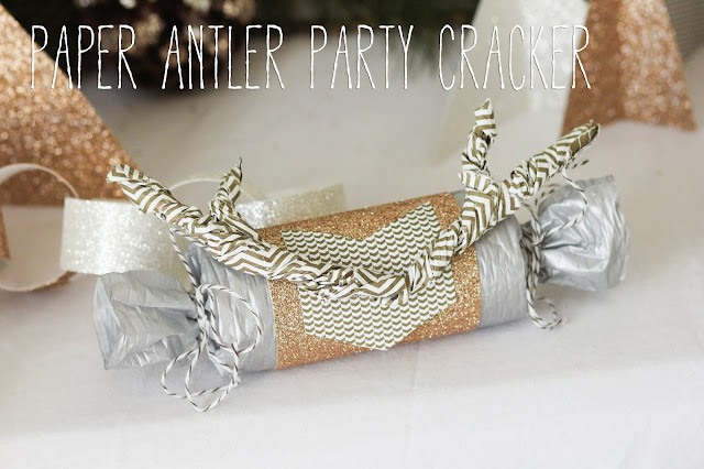 new year's eve paper antler party cracker tutorial