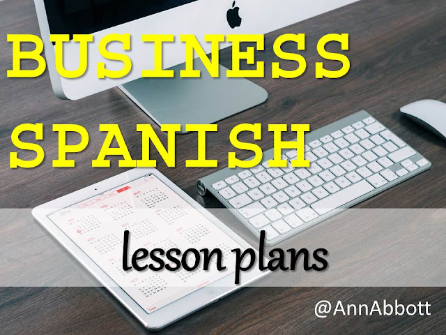 Photo of a computer and tablet with the words Business Spanish Lesson Plans from Annie Abbott