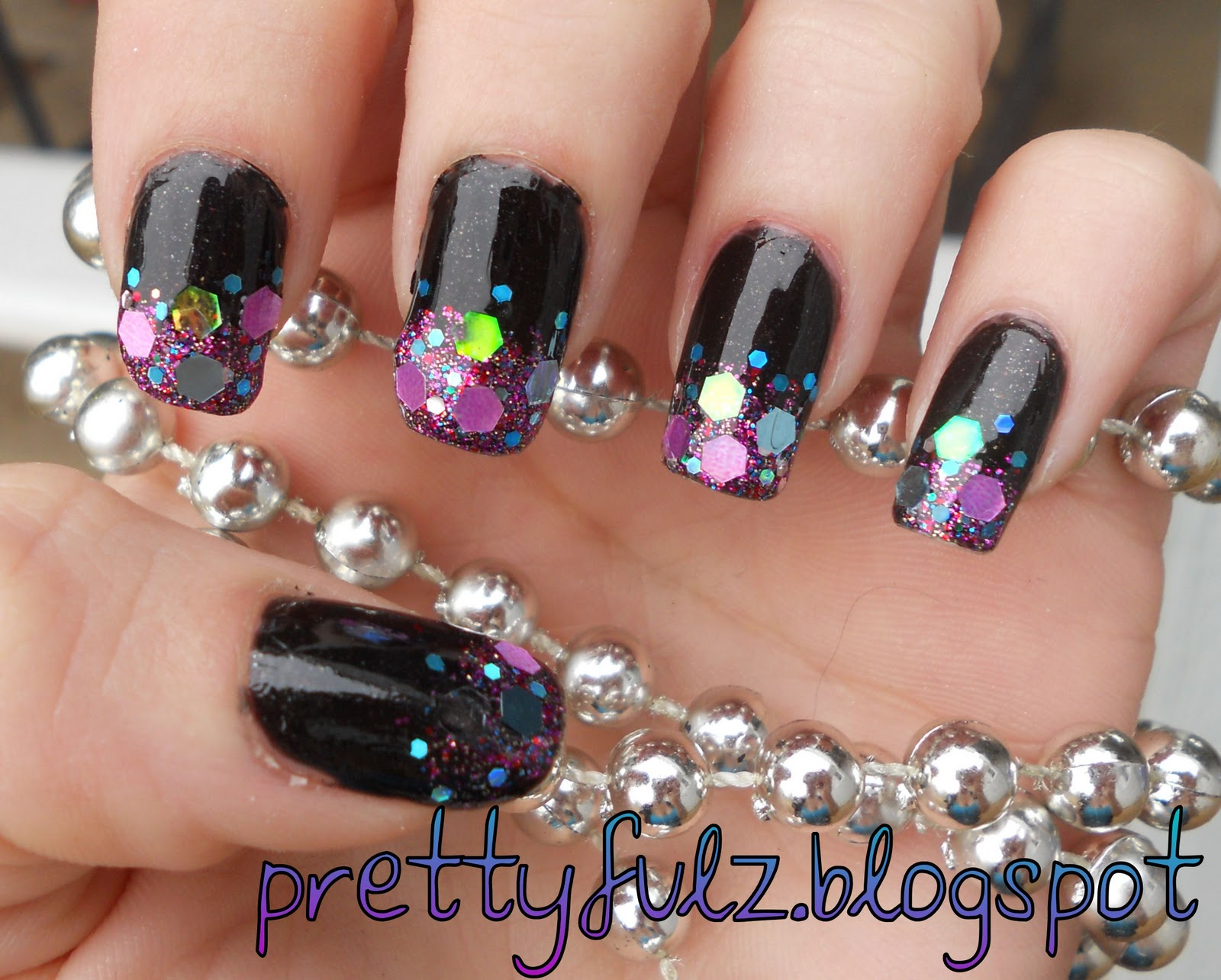 The Amusing Black nails glittery Digital Imagery