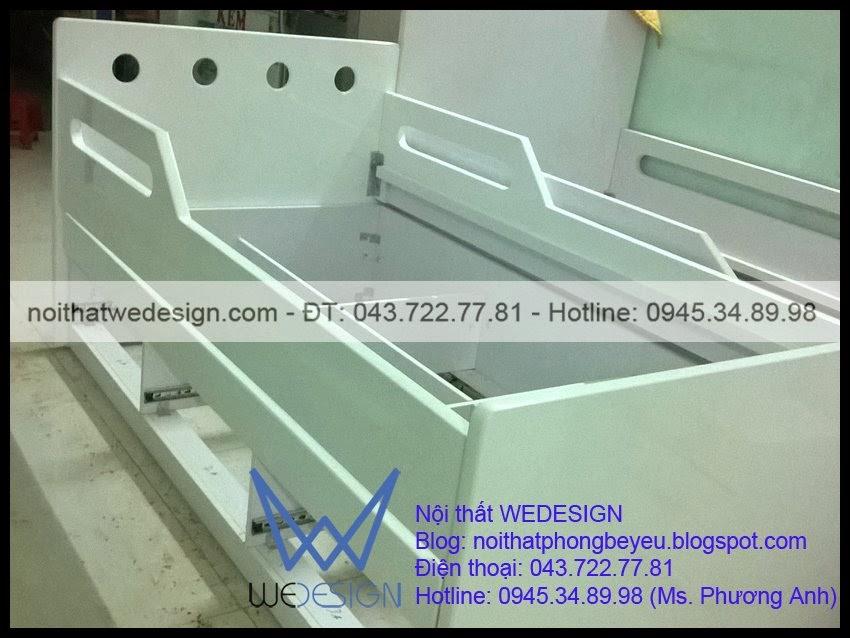 Giường 2 tầng dát phản 3 ngăn kéo nhà chị Đào