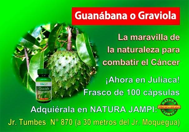 ¡Ahora en Juliaca! Frasco de 100 cápsulas de Graviola o Guanábana, totalmente natural: