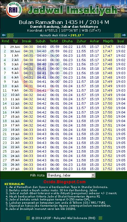 Jadwal Imsakiyah BANDUNG 1435 Hijriyah 2014