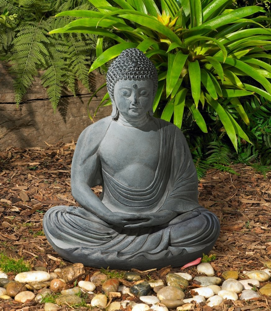Peaceful sitting buddha garden statue garden buddha statues for Decoration jardin bouddha