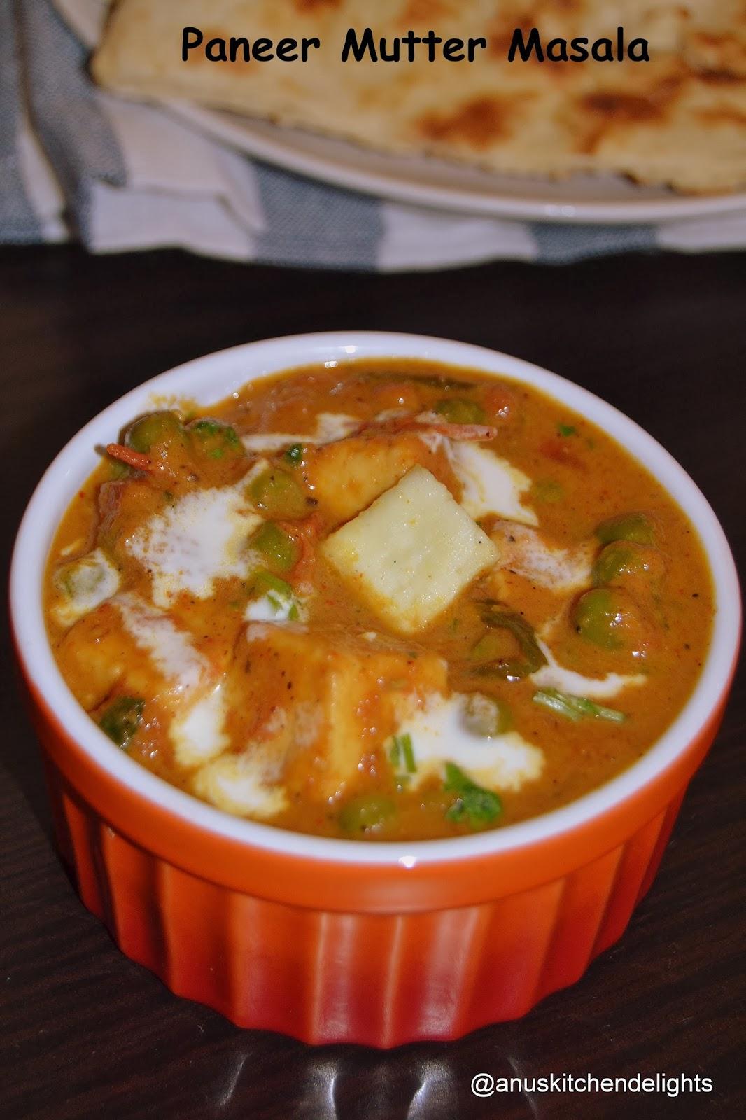 Paneer and peas masala