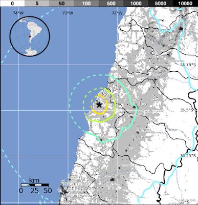 Epicentro sismo 6,2 grados en Chile 30 de Octubre 2013