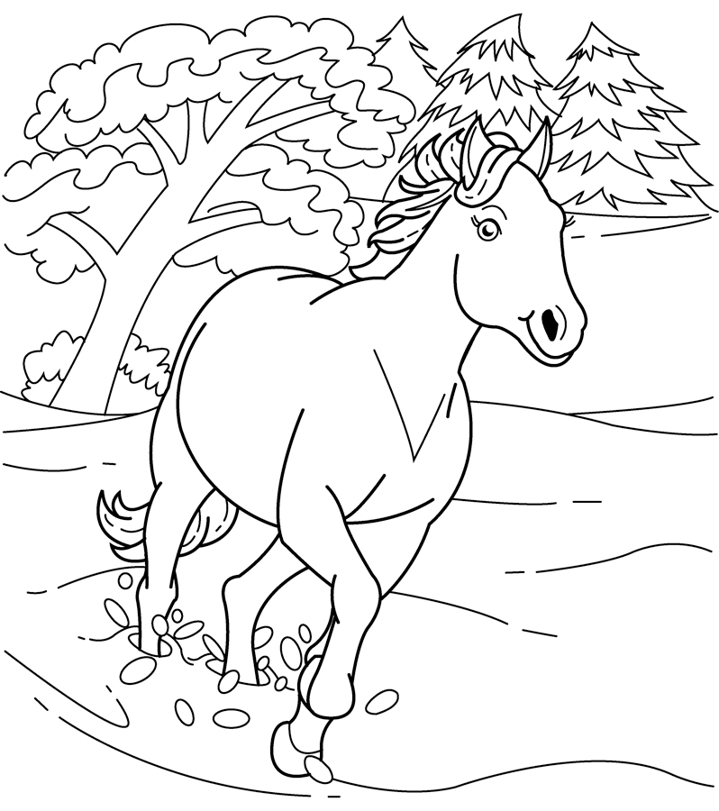 coloring pages horses running - photo #16