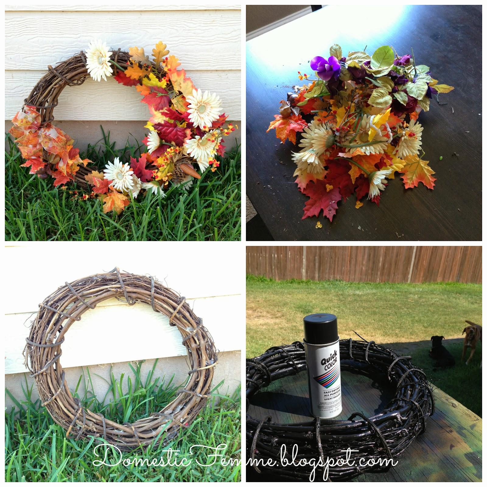 Diy winter wreaths for front door - Diy Foam Monogram Wreath For Less Domestic Femme Wreaths Stepbystep Tutorial