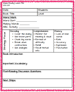 reading recovery lesson plan template primary pointe guided reading linky