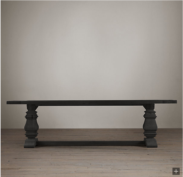restoration hardware trestle salvaged wood dining table decor look