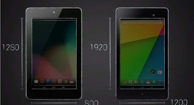 Nexus 7 and New Nexus 7 screen comparison photo