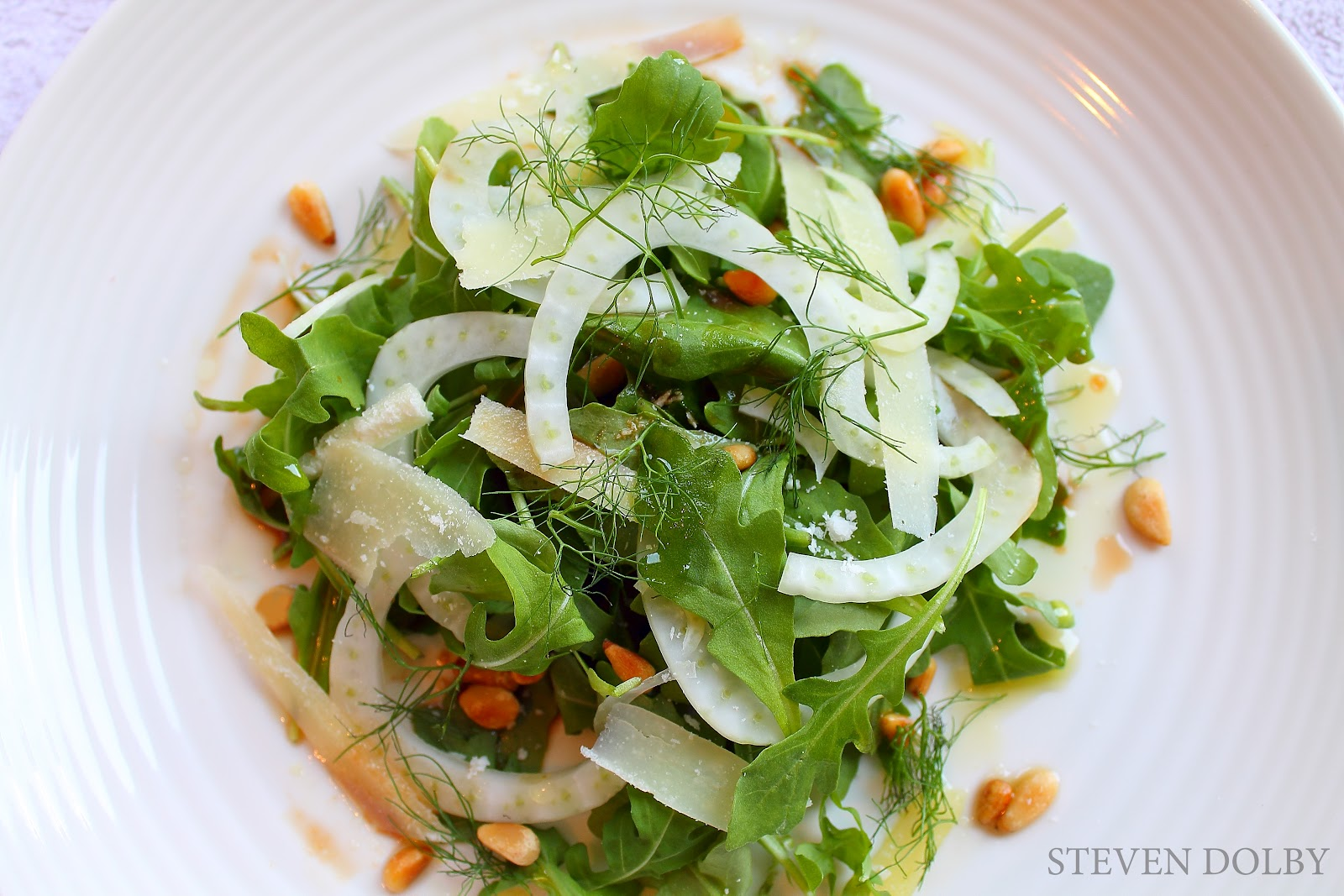 Arugula salad with Fennel, Parmesan, toasted Pine Nuts ...