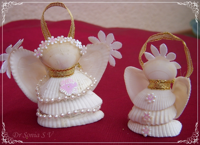 christmas ideas: shell crafts &#8211; shell angels and altered bottle